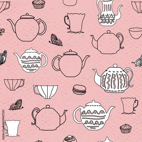 rozowe-i-czarne-rocznika-czajniki-i-kubki-bezszwowe-teksturowane-tlo-wzor-idealny-do-tkanin-rezerwacji-zlomu-tapet-zaproszen-okladow-na-prezent