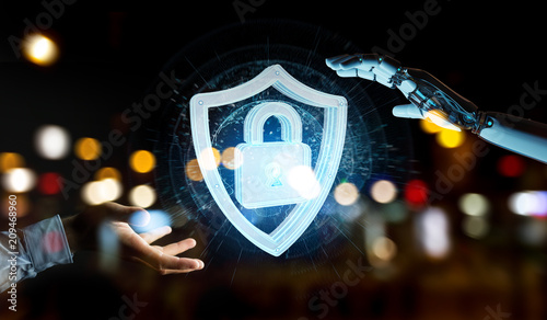 White humanoid hand using web security 3D rendering - 209468960