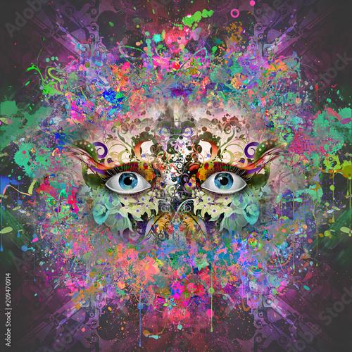 Canvas Reznik абстрактные магия красочные глаза на абстрактного фона