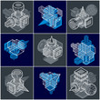 Engineering abstract geometric shapes, simple vectors set. - 209472968