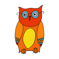 Owl cartoon illustration isolated on white background for children color book