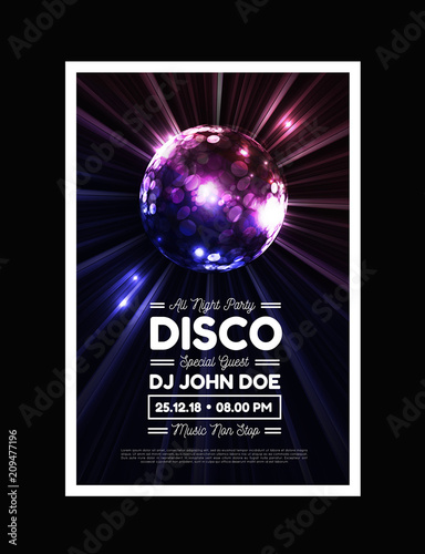 Disco party vector background with rays and disco ball - 209477196