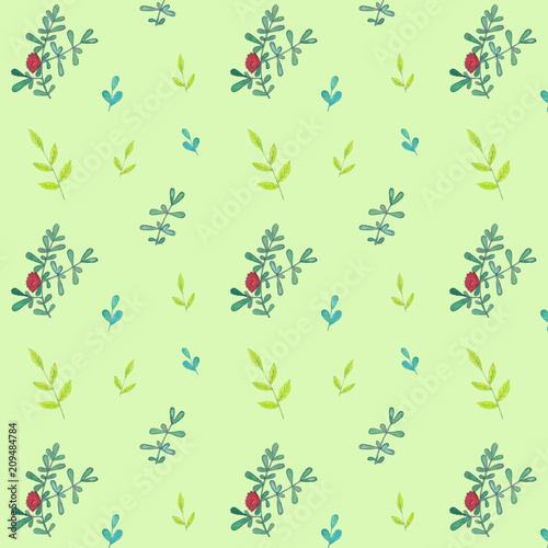 Seamless pattern, branches and leaves, watercolor - 209484784