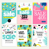 Set of mobile summer sale banners. Vector illustrations of online shopping ads, posters, newsletter designs, coupons, social media banners and marketing material. - 209484938