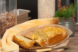 Home Baked Cake With Salmon, Red Leicester Cheese, Dill. - 209484955