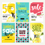 Set of mobile summer sale banners. Vector illustrations of online shopping ads, posters, newsletter designs, coupons, social media banners and marketing material. - 209485196