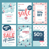 Set of mobile summer sale banners. Vector illustrations of online shopping ads, posters, newsletter designs, coupons, social media banners and marketing material. - 209485962