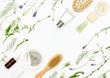 Leinwanddruck Bild - Natural cosmetics background, flat lay