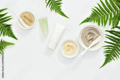 Leinwanddruck Bild Natural cosmetics set with various kinds of cosmetic clays