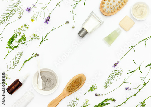Leinwanddruck Bild Natural cosmetics background, flat lay