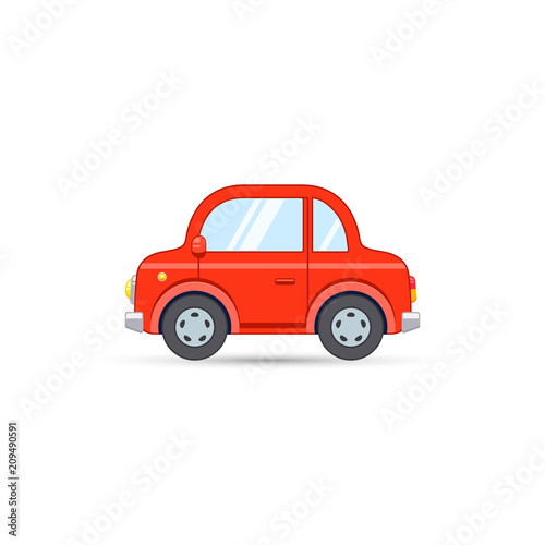 Fotobehang Auto Red car side view in cartoon flat style. Vector transport icon isolated on white background
