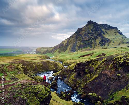 Foto Murales Summer landscape with Skoga river, Iceland