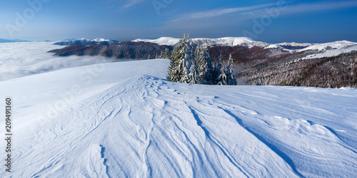 Foto Murales Winter landscape with snow in the mountains