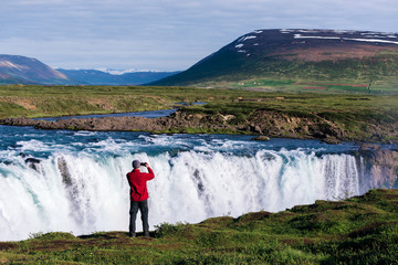 Landscape of Iceland with Godafoss waterfall