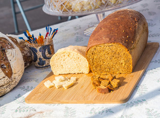 Southwest Sourdough Bread: Southwest Sourdough bread on display at a local farmers market.