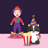 Carnival circus design with clown and skunk with pop corn over black background, colorful design. vector illustration