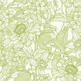 Elegance Seamless pattern with peonies or roses flowers - 209493108