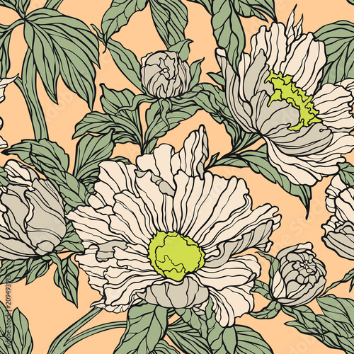 Elegance Seamless pattern with peonies or roses flowers - 209493913