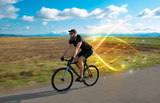 Young cyclist riding bicycle with magical landscape and concept - 209496129