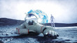 Astronaut on the moon with alien. 3d rendering.