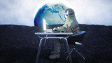 Astronaut on the moon working with notebook . 3d rendering. - 209496347