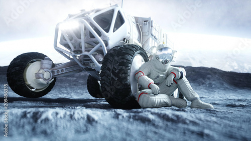 Astronaut on the moon with rover. 3d rendering.