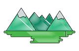 Mountains landscape over white background, colorful design. vector illustration