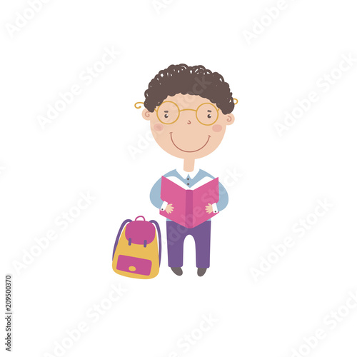 Little boy with book and backpack.