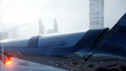 Sci fi ship over futuristic fog city. Aerial view. Concept of future. Realistic 4K animation.