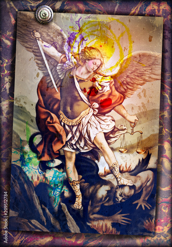 Fotobehang Imagination Saint Michael the Archangel, sacred image of ancient art, devotional people