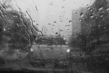 View of raindrop from inside the car