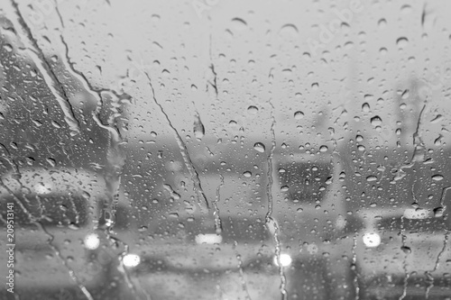 View of raindrop from inside the car - 209513141