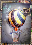 Steampunk hot air balloon on old fashioned background and antique postage stamps