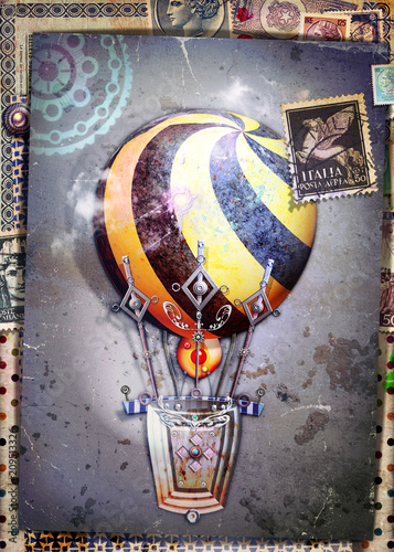 Fotobehang Imagination Steampunk hot air balloon on old fashioned background and antique postage stamps