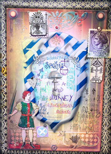 Fotobehang Imagination Wonderland. Magic mushroom on frame, Alice and through the looking-glass