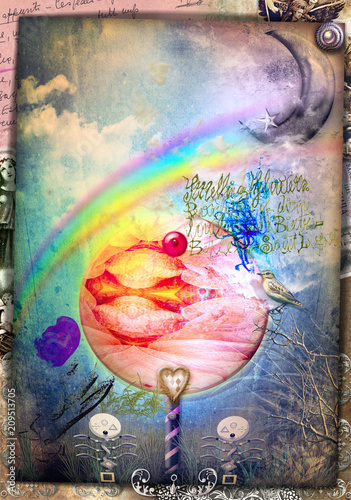 Plexiglas Imagination Witched forest. Magic mushroom in the blue forest with rainbow and moon