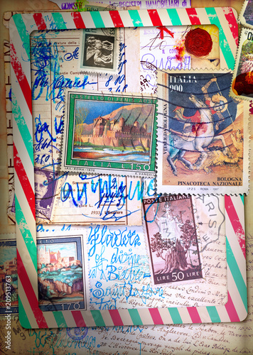 Fotobehang Imagination Air mail. Old fashioned postcard with sketches and vintage stamps