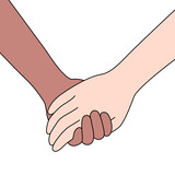 Couple holding hands. Hand drawn style, vector illustration isolated on white background. - 209514115