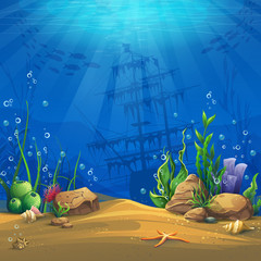 Vector illustration background bottom of the underwater world