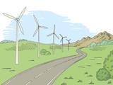 Windmills road graphic color landscape sketch illustration vector - 209520973