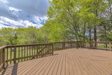 Wooden deck with cloudy skies and green trees - 209521128