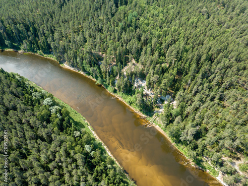 Aluminium Olijf drone image. aerial view of snake river in deep green forests