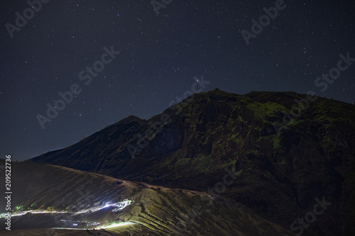 Aluminium Nachtblauw Ijen, Vulkan, Milchstraße, Milky Way,