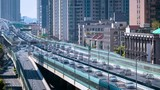 time lapse of traffic flow closeup on elevated road in shanghai - 209531582