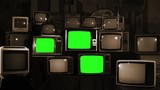 Many Tvs Green Screens Turning On. Sepia Tone. Aesthetics of the 80s. Ready to Replace Green Screens with Any Footage or Picture you Want.  - 209531785