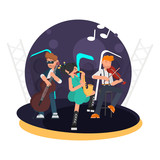 Trio musicians for cello, violin and saxophone on stage color flat illustration - 209535930