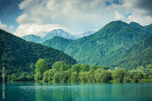 Foto Murales Green forest  covering mountains at Most na Soci, Slovenia