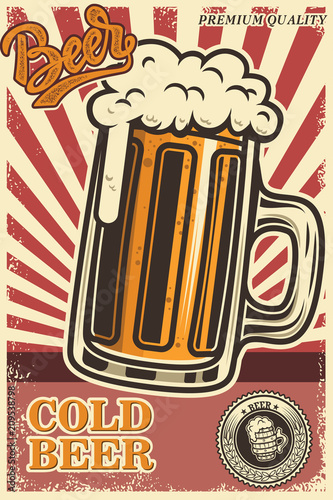 Aluminium Vintage Poster Beer poster in retro style. Beer objects on grunge background. Design element for card, flyer, banner, print, menu.