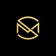 Initial letter MS SM minimalist art logo, gold color on black background