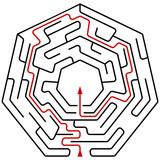 Black heptagonal maze with help - 209544118